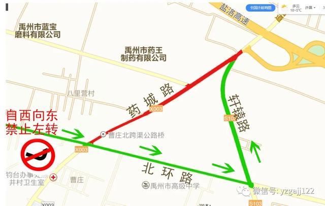 关于禹州北环路与药城路交叉口禁止货车向北行驶的通告
