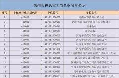 禹州市拟认定大型企业名单公示
