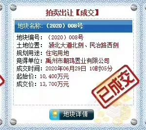 禹州朝鸿置业以13700万喜拍(2020)008块地!